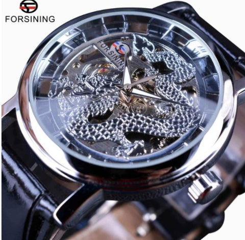 Automatic Skeleton Mechanical Watches - Dragon Silver