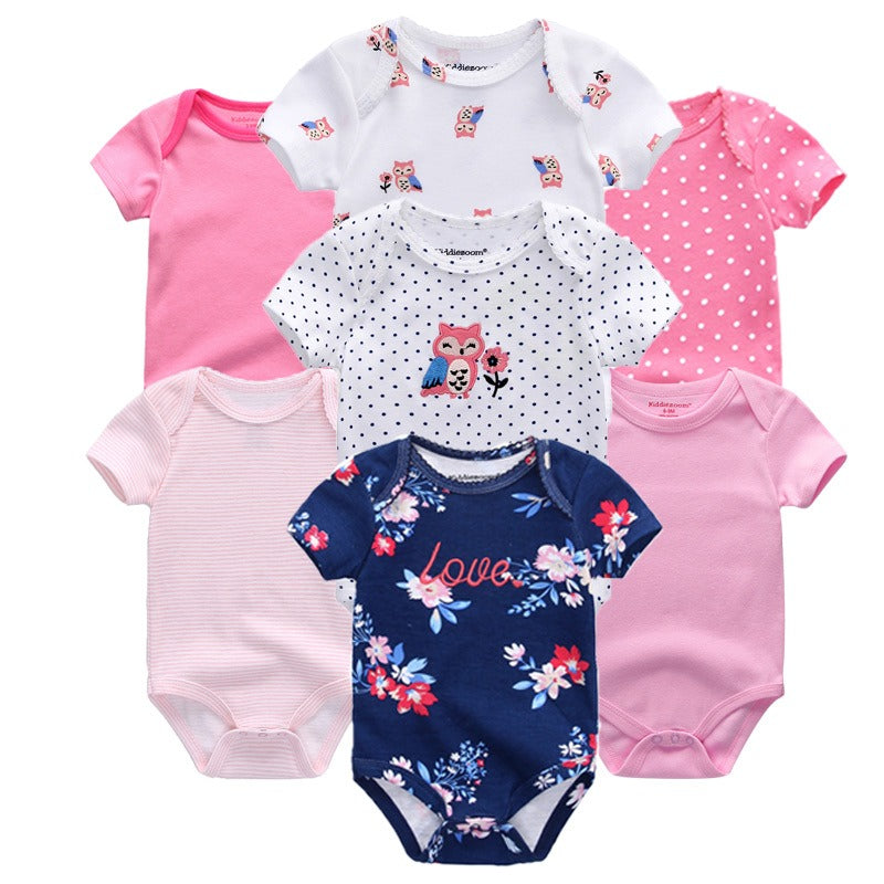 Babies Short Sleeve Rompers (0-3 and 3-6 months mixed set) - 7pc Set - Pink and Floral