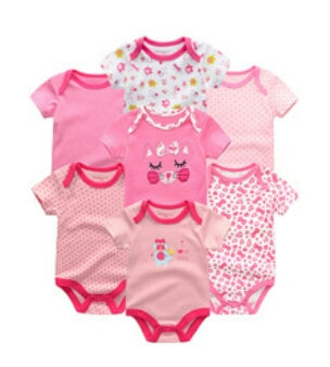 Babies Short Sleeve Rompers (0-3 months) - 7pc Set - Pink