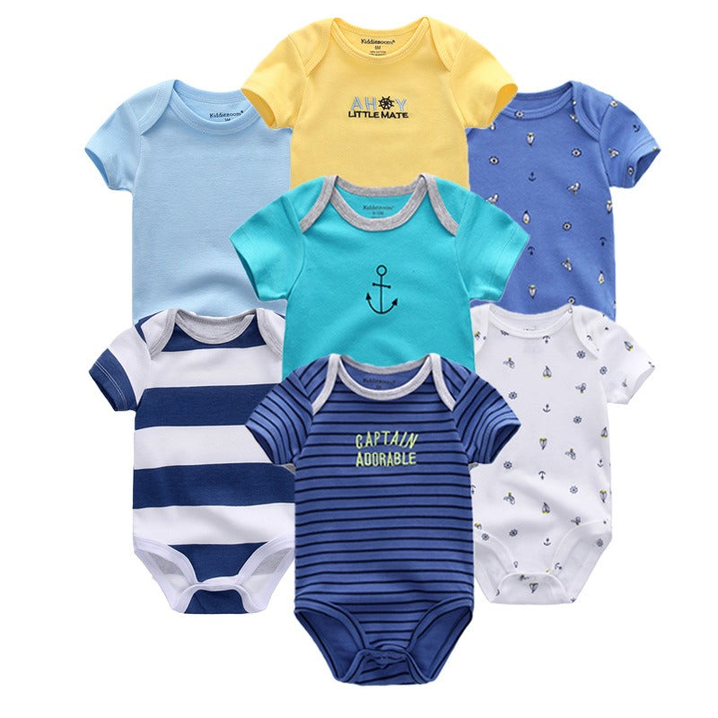 Babies Short Sleeve Rompers (0 - 3 months) - 7pc Set - Yellow and Blue
