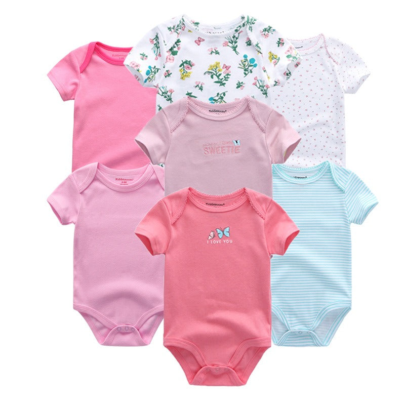 Babies Short Sleeve Rompers (3 - 6 months) - 7pc Set - Blue and Pink