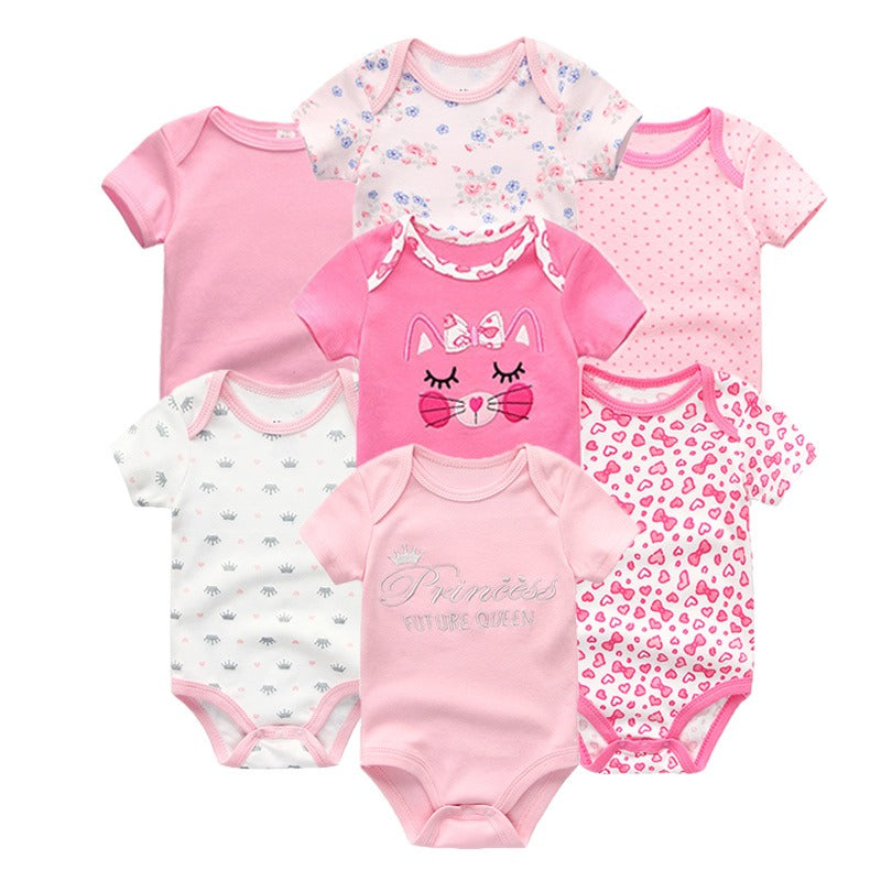 Babies Short Sleeve Rompers (0 - 3 months) - 7pc Set - Pink