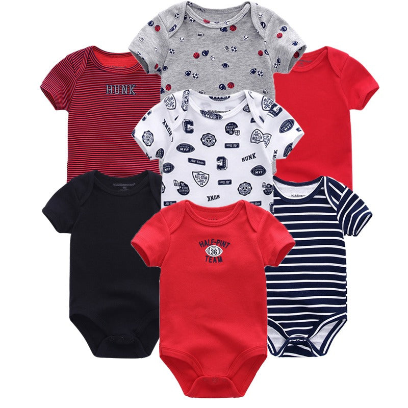 Babies Short Sleeve Rompers (0 - 3 months) - 7pc Set - Red