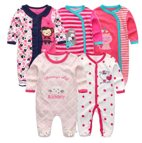 Babies Long Sleeve Rompers (mix 0 - 3 months and 3-6 months)  - 5pc Set - Pink 2