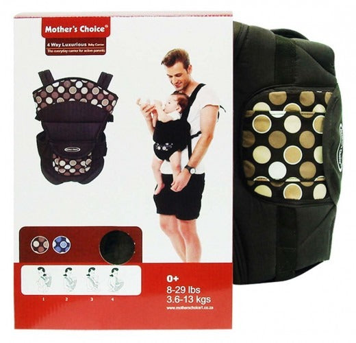 4 Position Baby Carrier - Designed for new born - 18 Months Old - Brown