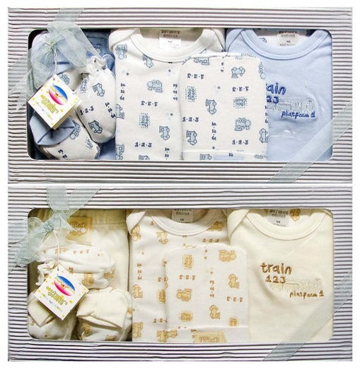 Double pack - 6pc Infant Gift Set  (0+ months) - Blue and Beige