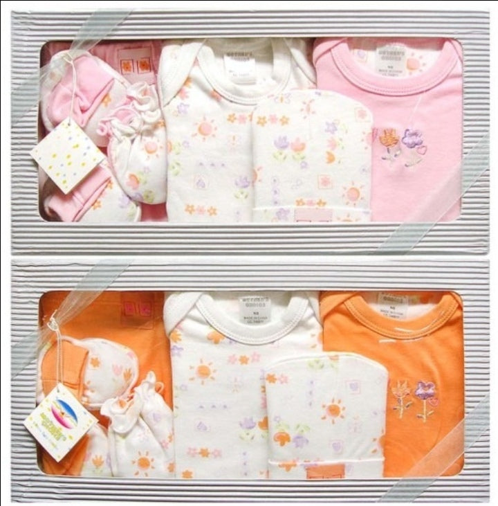 Double pack - 6pc Infant Gift Set  (0+ months) - Pink and Orange