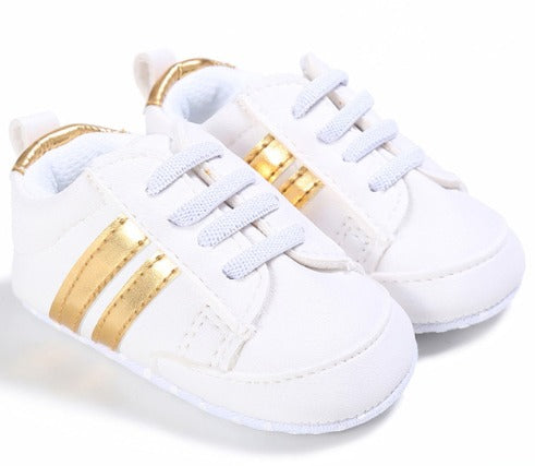 Infants Anti-slip Soft sole Sneakers - White with Gold Edge
