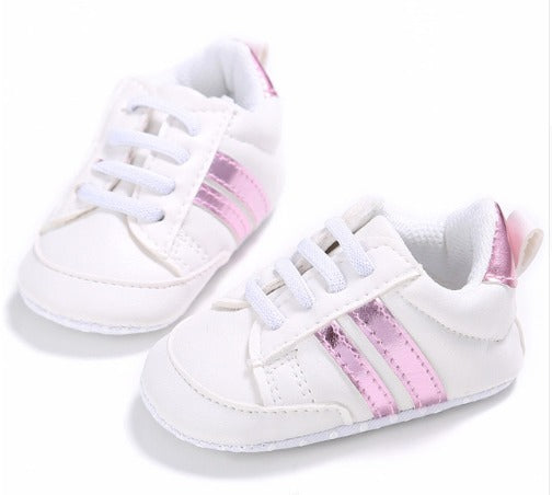 cceb947df Infants Anti-slip Soft sole Sneakers - White with Pink Edge