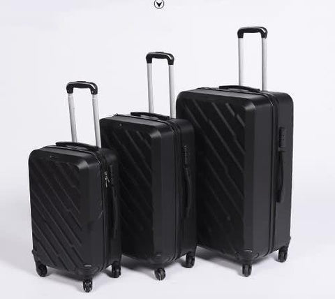 3 Piece Light Weight Luggage Set  - Black