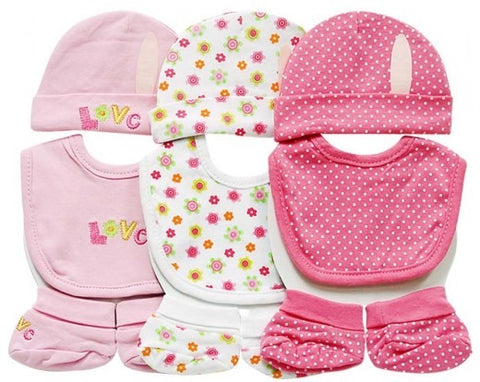 9PC Beanie and Booties and Bibs (0-6 months) - Pink