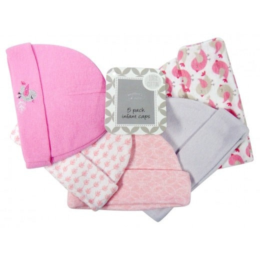 5PC Infant Beanie Set (0-6 months) - Pink Birdies