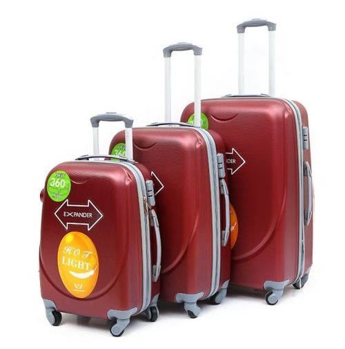 3 Piece Light Weight Luggage Set  - Red