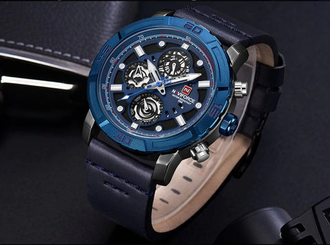 Men's Formal Naviforce Watch with Calendar  - Blue