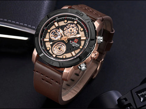 Men's Formal Naviforce Watch with Calendar  - Black Rose Gold