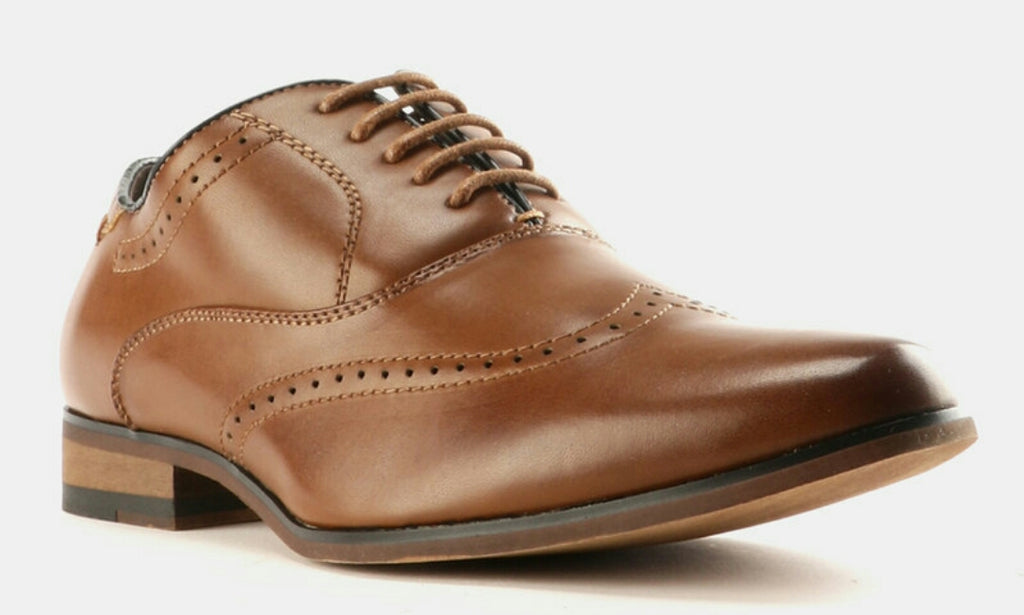Two Tone Formal Lace Up Shoes Tan