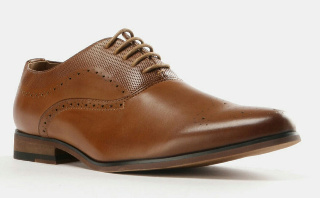 Formal Lasered Lace Up Shoes Tan