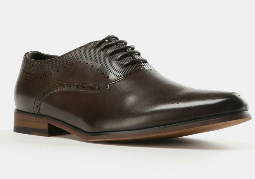 Formal Lasered Lace Up Shoes - Brown