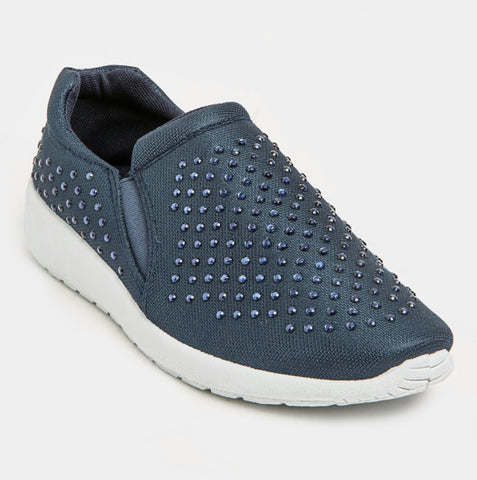 Jada Diamante Detail Slip-on Sneakers - Navy