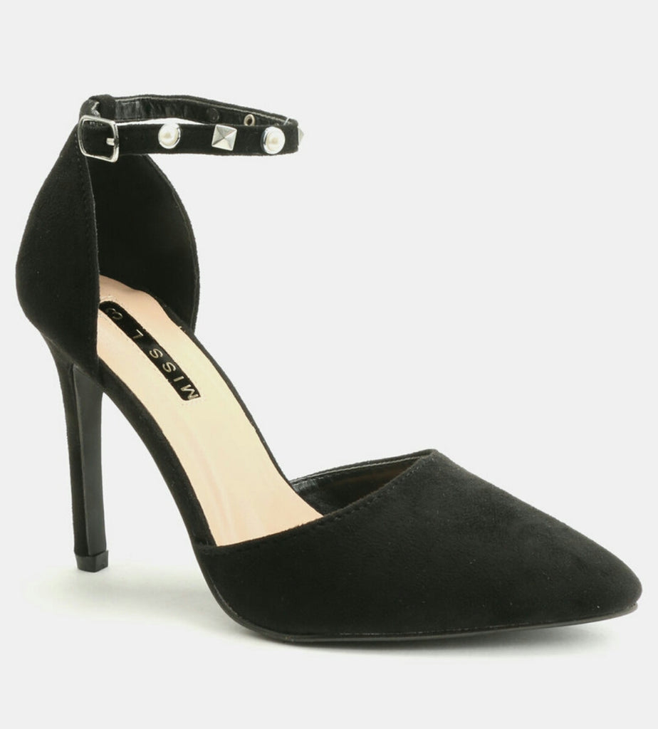 Legit Heels With Pearled Ankle-Strap and Pointed