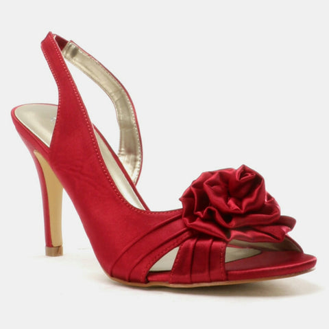 Sandal Heel Rose Trim Red