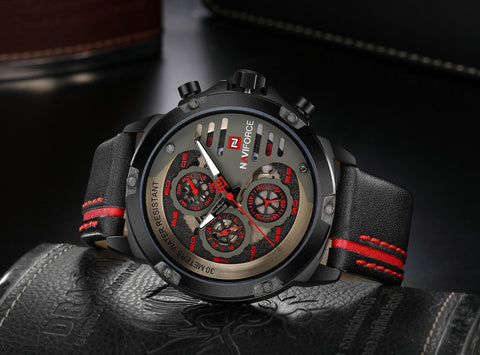 Men's Genuine Leather Formal Naviforce Watch - Black Red