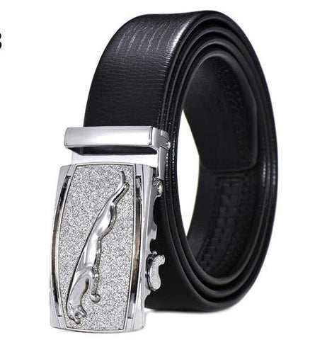 Genuine Leather Automatic Buckle Formal Belt - Silver Black
