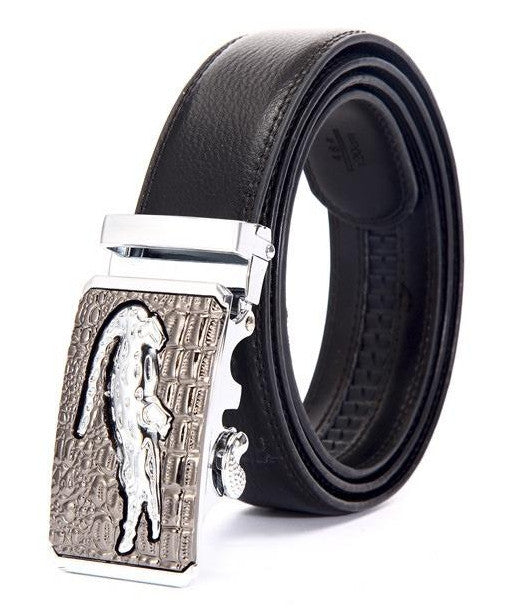 Genuine Leather Automatic Buckle Formal Belt - Silver Bronze - Style 1