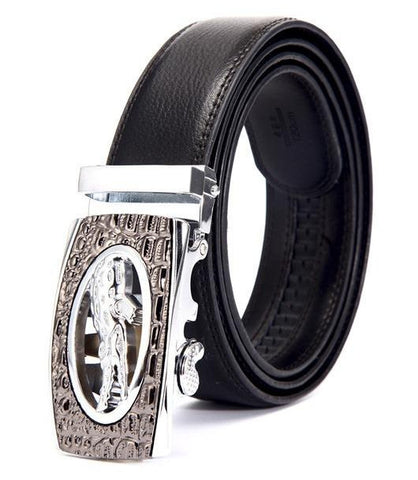 Genuine Leather Automatic Buckle Formal Belt - Silver Bronze - Style 2