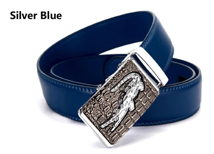 Genuine Leather Automatic Buckle Formal Belt - Silver Blue
