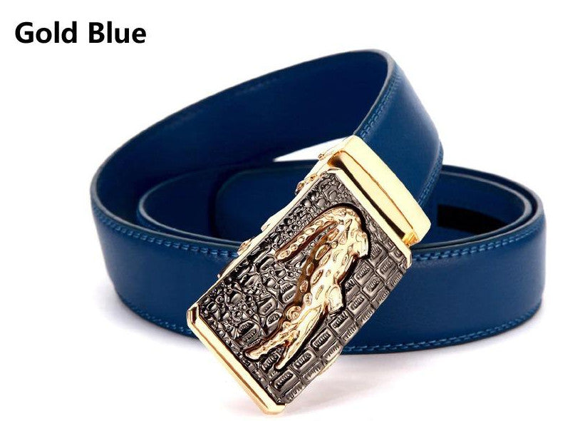 Genuine Leather Automatic Buckle Formal Belt - Gold Blue