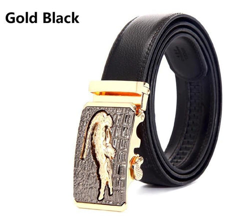 Genuine Leather Automatic Buckle Formal Belt - Gold Black