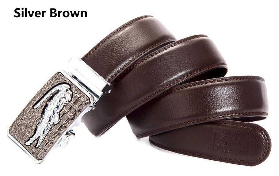 Genuine Leather Automatic Buckle Formal Belt - Silver Brown