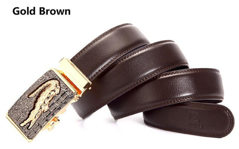 Genuine Leather Automatic Buckle Formal Belt - Gold Brown