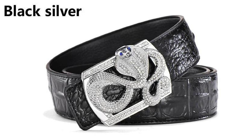 Genuine Leather Belt - Snake Buckle - Black Silver