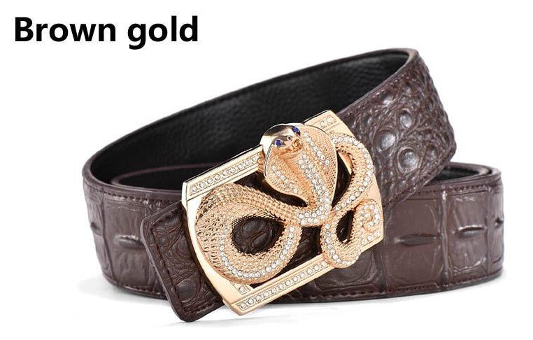 Genuine Leather Belt - Snake Buckle - Brown Gold