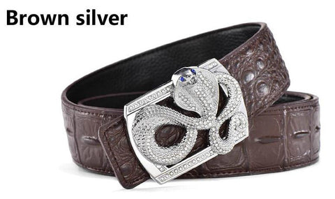 Genuine Leather Belt - Snake Buckle - Brown Silver