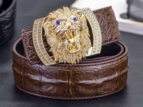 Genuine Leather Belt - Lion Buckle - Brown Gold