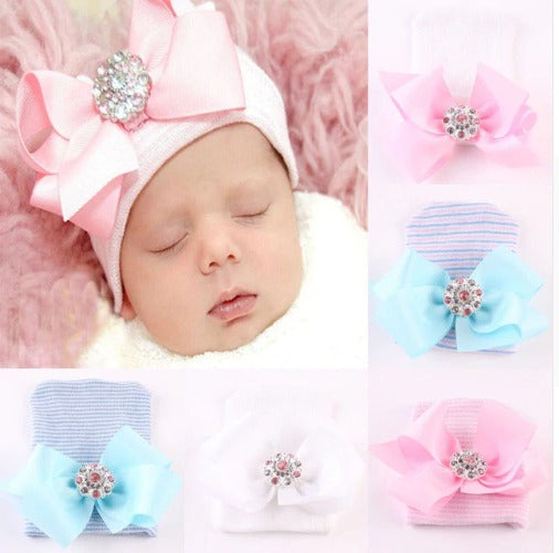 Newborn Baby Girl Comfy Bowknot Hospital Cap Beanie Hat