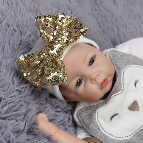 Newborn Baby Girl Comfy Bowknot Hospital Cap Beanie  - Gold