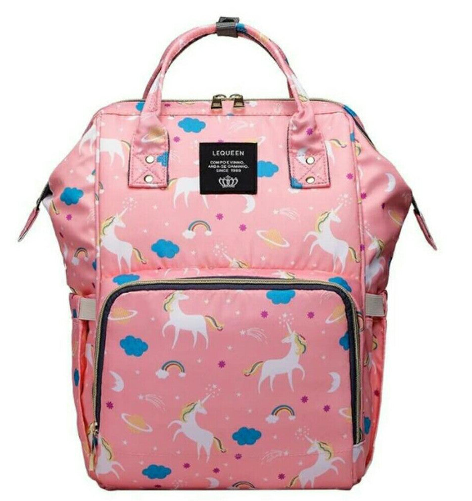 Baby Diaper Waterproof Travel Nappy Bag - Pink Unicorn
