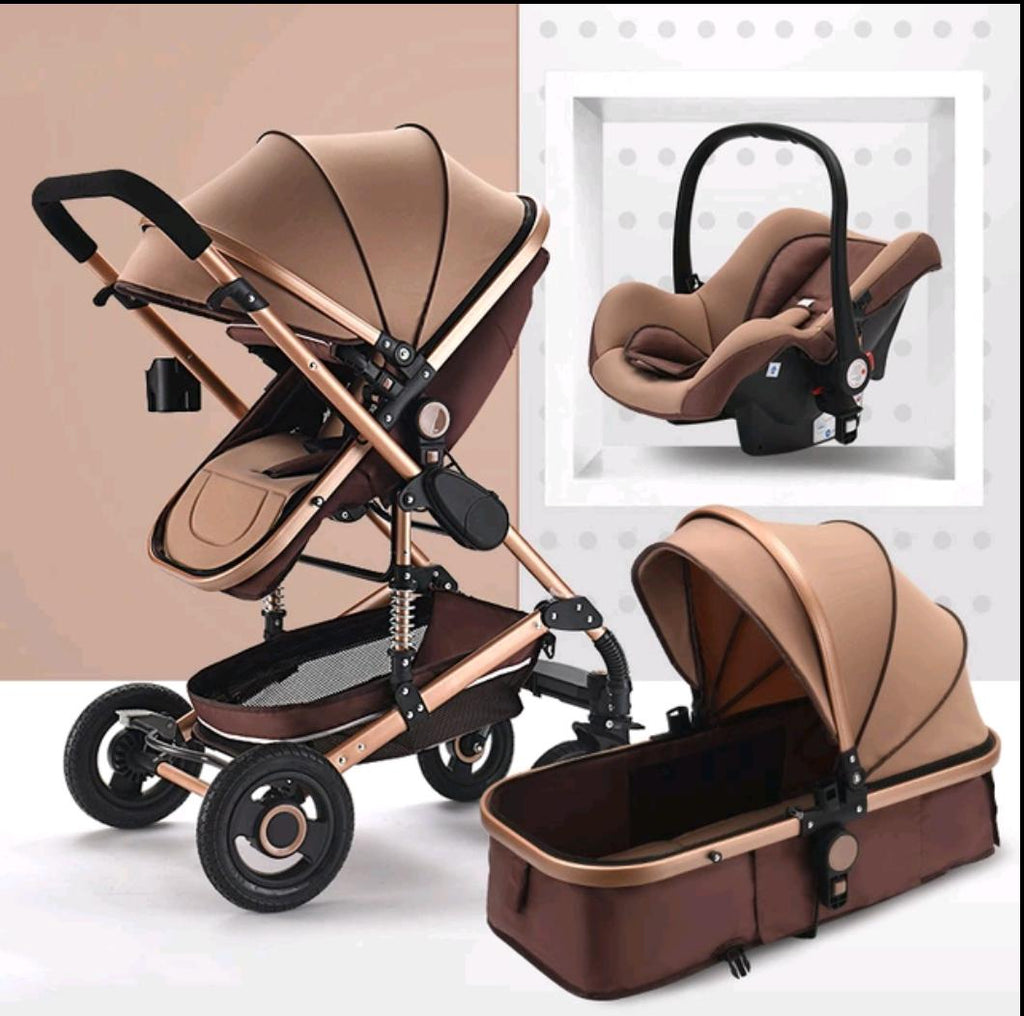 Baby Pram Stroller - 4 Wheel 3 in 1 Function Foldable Baby Pram with Car Seat- Chocolate