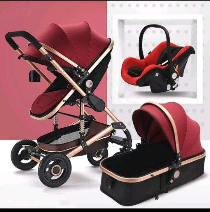 Baby Pram Stroller 4 Wheel 3 In 1 Function Foldable Baby Pram With Car Seat Wine Red