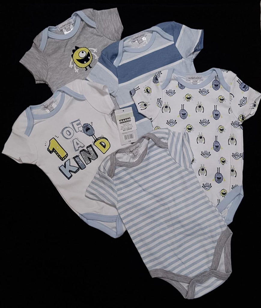 Babies Short Sleeve Rompers (0-3 months) - 5pc Set -Boys