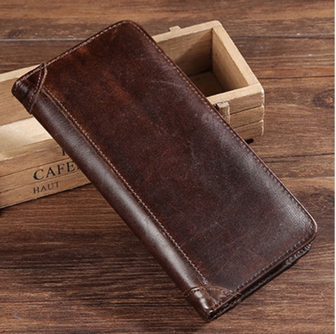 Men's Genuine Leather Large Vertical Wallet - Chocolate