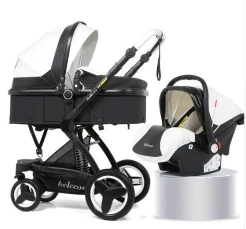 Baby Pram Stroller - PU Leather 4 Wheel 3 in 1 Foldable Baby Pram with Car Seat- Black and White