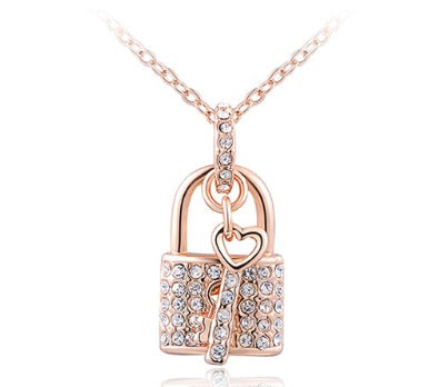 Lock and Key Pendant Necklace - Rose Gold
