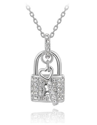 Lock and Key Pendant Necklace - Silver