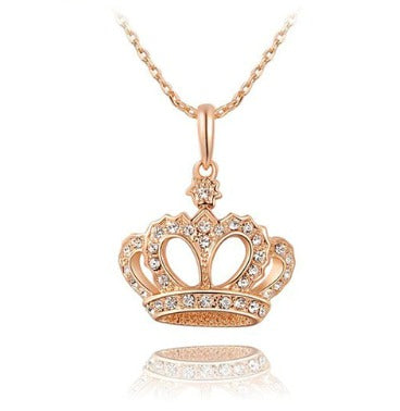 Crown Pendant Necklace - Rose Gold