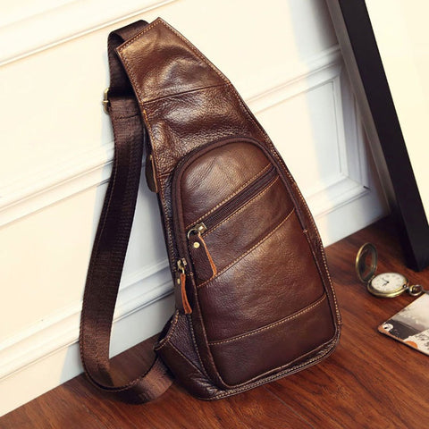 Genuine Leather Men's Vintage Chest Sling bag - Coffee